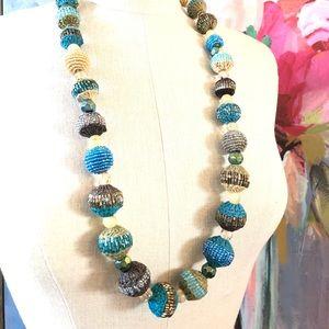 RALPH LAUREN sequin & straw oversize bead necklace